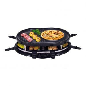 Costzon Raclette People Non-Stick Grill Plate with Spatulas and Paddles, Black