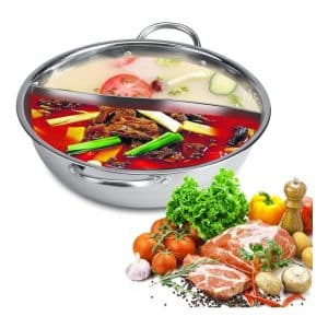 Fdit Glass Lid Stainless Steel Cooking Hot Pot