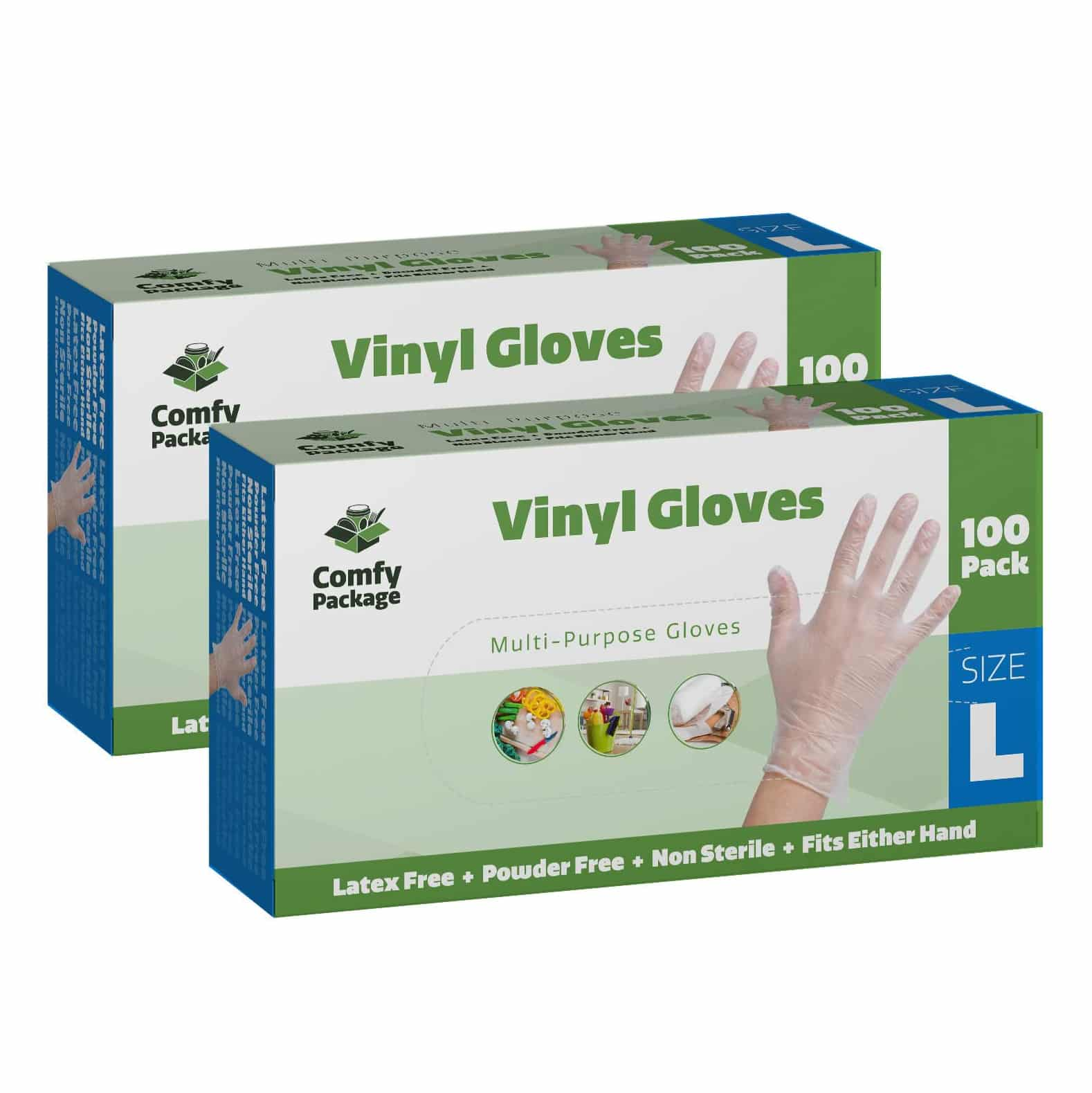 Comfy Package Clear Powder Free-Vinyl Disposable Gloves