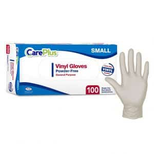 Care Plus 100 Pieces Disposable Plastic Vinyl Gloves