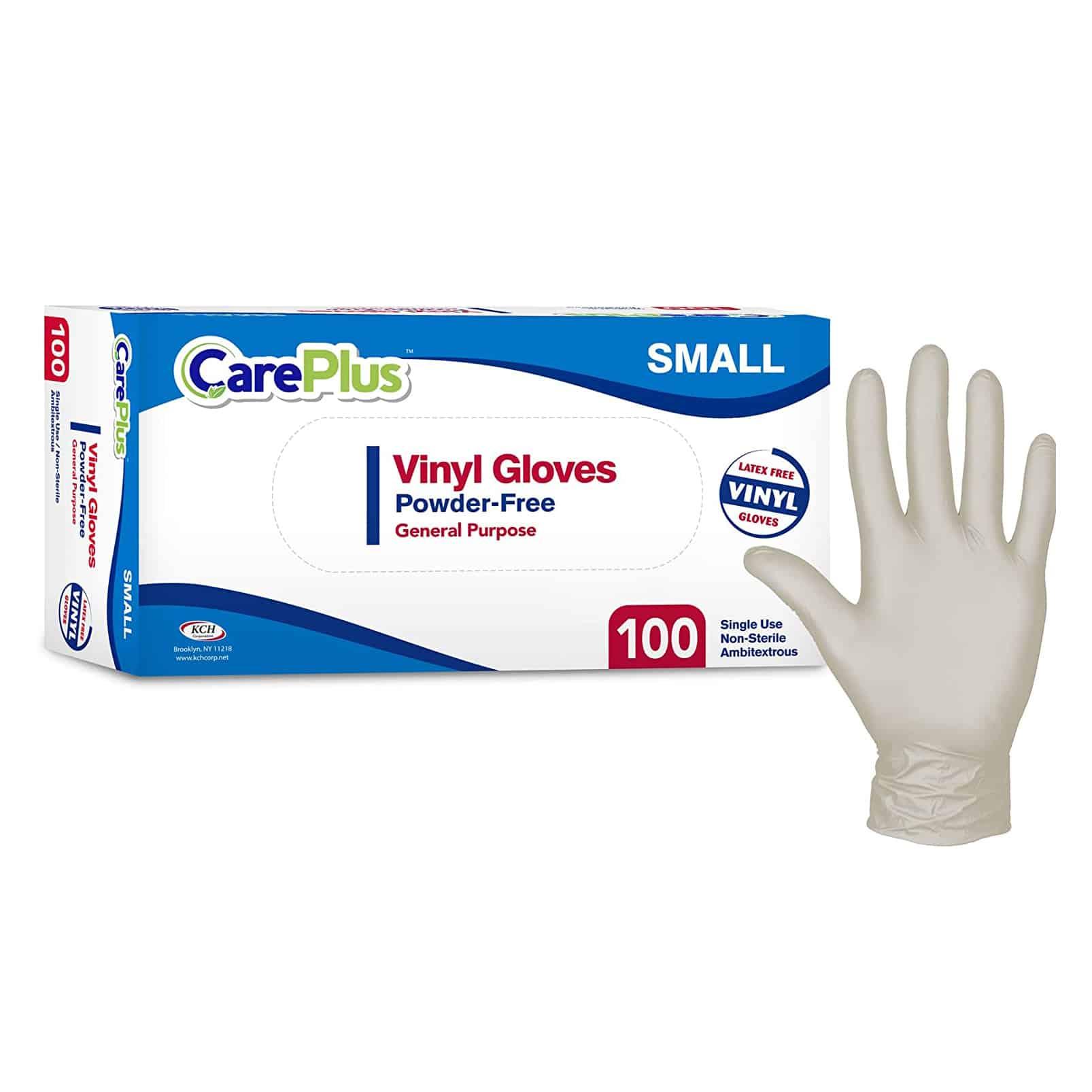 Care Plus 100 Pieces Disposable Plastic Vinyl Gloves