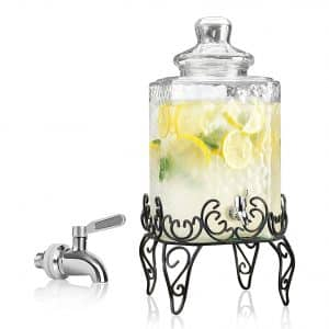 RPI Elegant Hammered Glass Beverage Dispenser