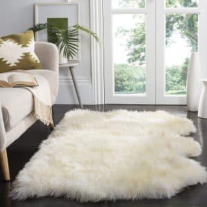 Safavieh Sheepskin Collection 3 x 5ft White Premium Shag Rug