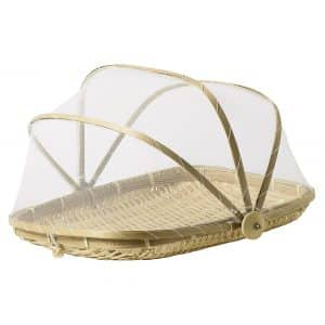 Nantucket Home 13-inch Rectangular Bamboo Food Cover Tent Basket