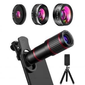 MACTREM 9 in 1 Phone Camera Lens with 205° Fisheye Lens, 20X Telephoto Lens