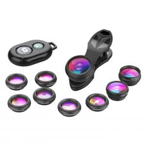 Apexel Remote Shutter Phone Camera Lens with Fisheye Lens, Wide Lens, Macro Lens and more.