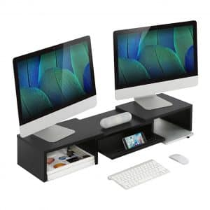 Adjustable Wood Dual Monitor Stand Riser