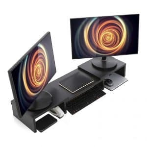 Wood Dual Monitor Stand Riser with Adjustable Length