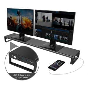 Dual Monitor Stand Riser with 8 USB Hub ports