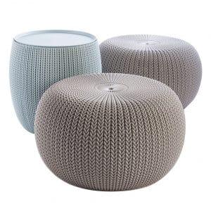 Keter Urban Knit Pouf Ottoman Chair Set