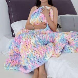 Techcity Rainbow Color Chunky Knit Blanket
