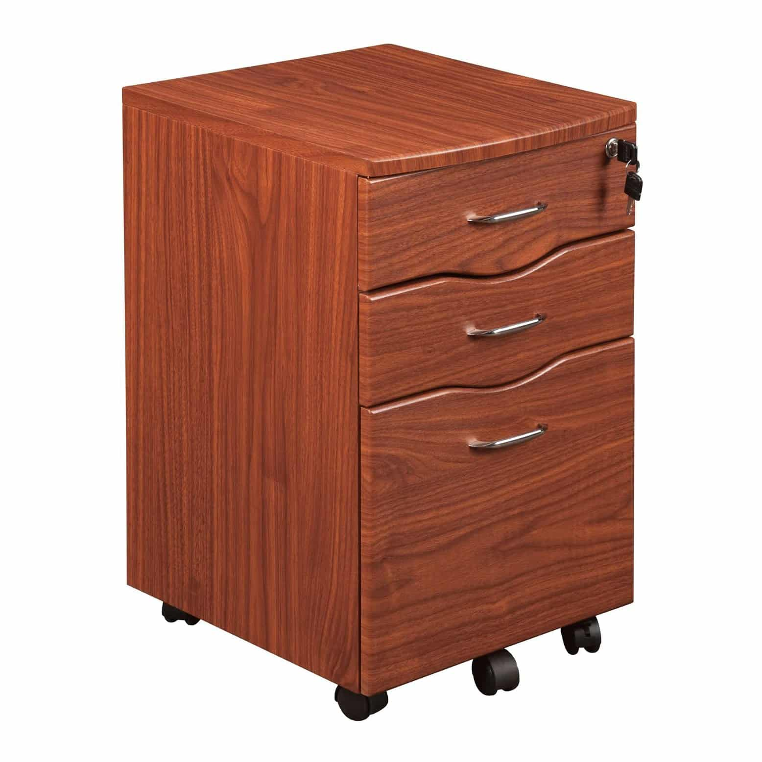 Techni Mobili File Cabinet and Rolling Storage, Mahogany