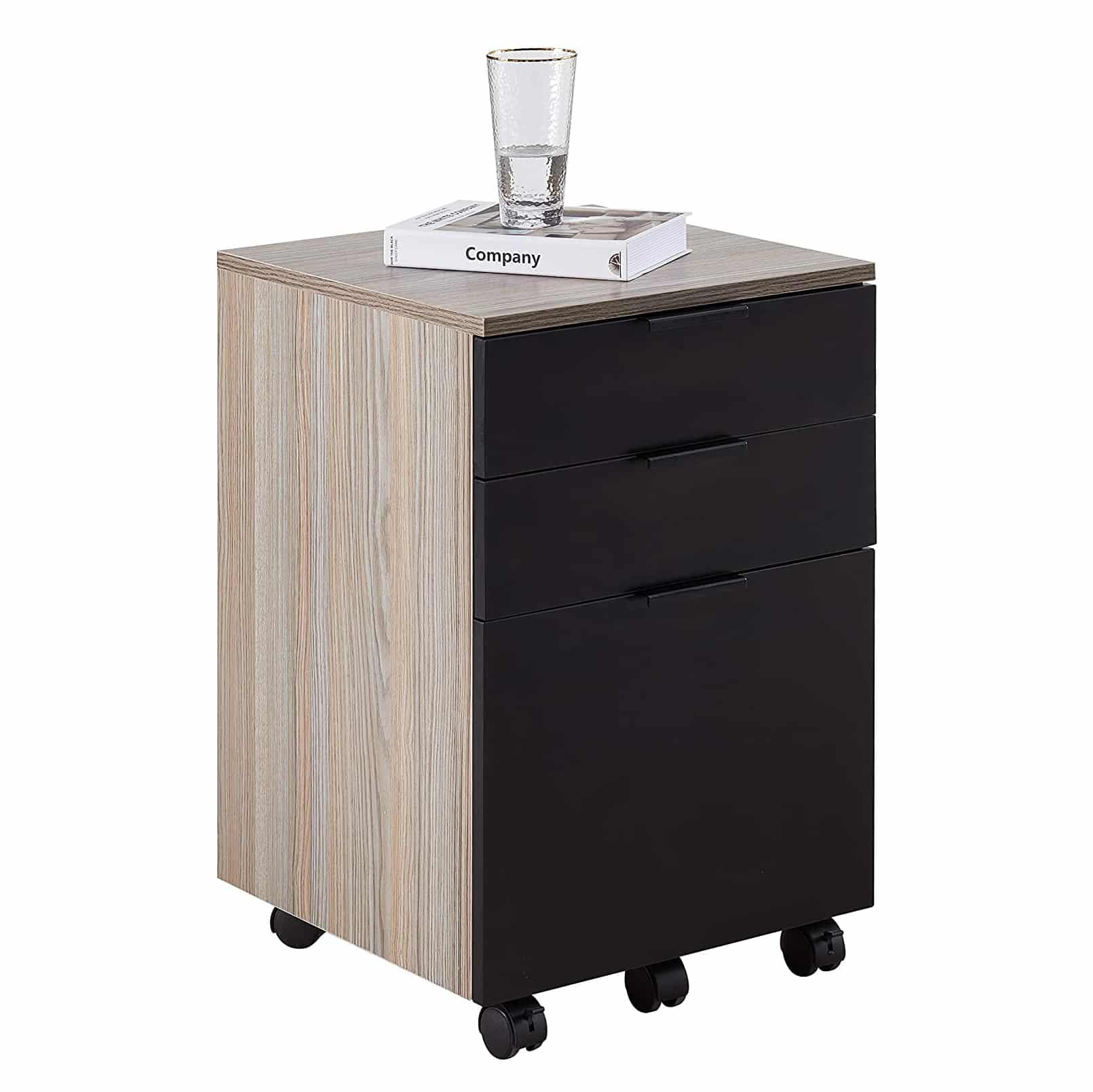 JJS 3 Drawer Wood Rolling File Cabinet