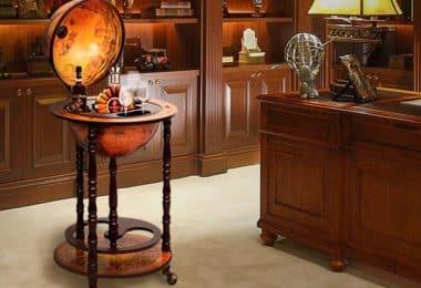 Wood Globe Wine Bar Stand