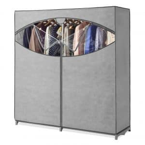 Whitmor Extra Wide Grey Portable Wardrobe