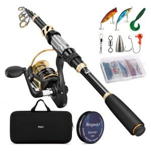 Magreel Reel Combo Set and Telescopic Fishing Rod for Freshwater Saltwater