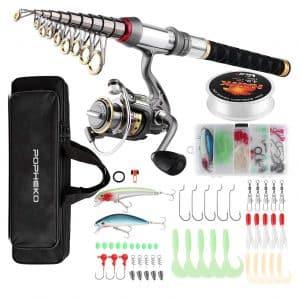 mouhike Store Fishing Telescopic Rod Reel Kids Adults Combo Full Kit