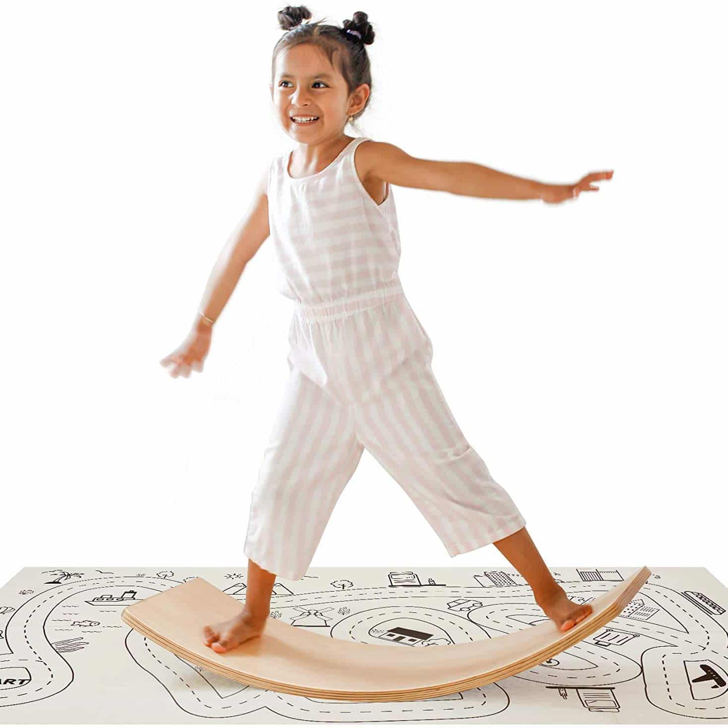 Crisschirs Wooden Balance Board with Play Mat