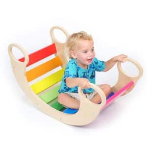 Wood Rainbow Rocker Board for Toddlers