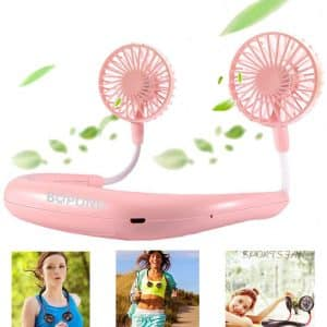BOPOND Rechargeable Personal Neckband Fan Hands with 3 Speed- Pink