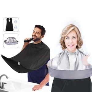 Showvigor 2Pcs Beard Bib and Hair Cutting Cape, 2 Suction Cups